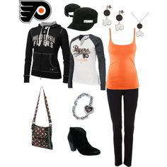 Outfit -- Philadelphia Flyers hot outfits, fitness outfits, sport, workout outfits, philadelphia flyers, closet, lets go, flyer food