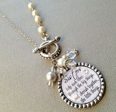 SISTER gift- PERSONALIZED necklace- wedding quote, birthday gift, maid of honor, rhinestone heart, thank you gift on Etsy, $30.00