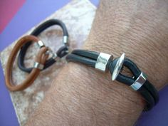Mens Stainless Steel Toggle Clasp Leather by UrbanSurvivalGearUSA, $25.99
