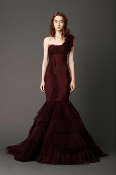 Dahlia mermaid gown with chevron pleated bodice and pleated tulleskirt with hand-rolled floral appliqué shoulder detail