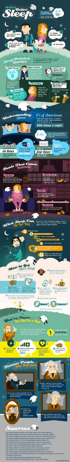 [infographic] Secret to Better Sleep ? Lots of great information about why you need your sleep and some causes of poor sleep. Also includes ideas for getting and staying asleep. I pin this when I should be sleeping, lol... via topoftheline99.com...