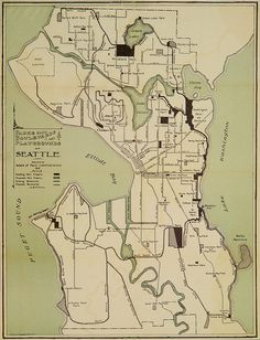 Seattle parks, boulevards, and playgrounds map, 1909 by Seattle Municipal Archives, via Flickr