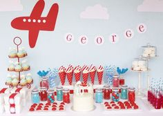 dessert tables, birthday banners, birthday parties, boy party, red white blue, party tables, airplane party, planes party, little boys