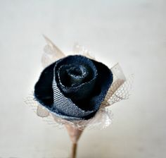 Champagne Lace and Denim Flower Wedding Corsage / Wedding Boutonniere by TheSunnyBee #etsyweddings