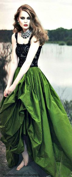 Black lace and green.