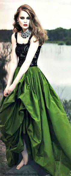 black lace, coutur, cloth, emerald, green dress