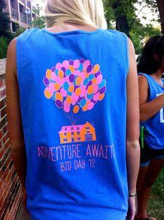 adventure awaits, adventur await, sorority bid day ideas, soror idea, shirt design, biglittl board, shirt chair, theta bid day