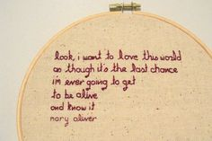 Mary Oliver quote wall hanging, $20 from lauralynn on etsy.com