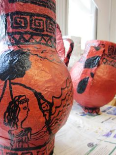 Paper Mache Greek Vases from Art Lessons for Kids
