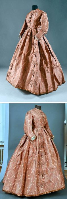Day dress ca. 1860-65. Silk taffeta in a pattern with chestnut cream color as ground. Druout Auctions