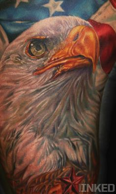 Eagle tattoo by Tim Harris #InkedMagazine #eagle #america #merica #tattoo #tattoos #inked