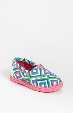 TOMS in a colorful geo-print.