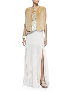 Snap-Front Mink Fur Vest, Lamé Scoop-Neck Tank & Pleated Pull-On Maxi Skirt by Brunello Cucinelli at Neiman Marcus.