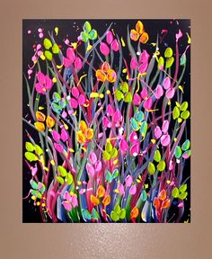 Flower Field Colorful Painting Contemporary Modern Fine Art on Canvas 24x20 Midnight Flowers