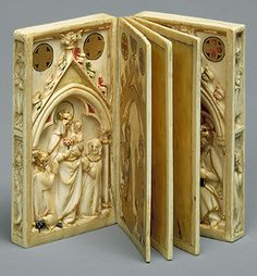 Booklet with Scenes of the Passion, carving, ca. 1300, Elephant ivory, polychromy, gilding
