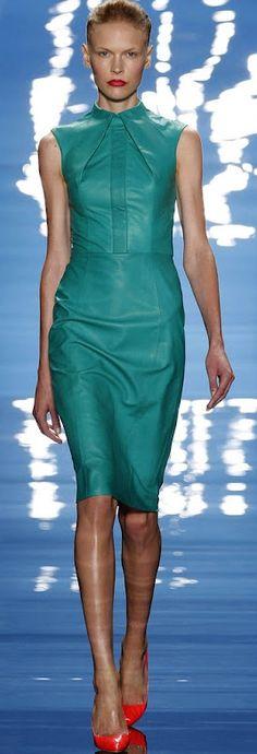 CESPINS ❤ Reem Acra blue leather dress