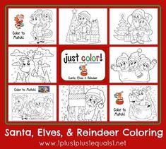 Christmas Coloring Printable Pack ~ Santa, Elves & Reindeer