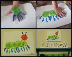 Put your hand in paint and make a very cute caterpillar! (From book made by Eric Carl)