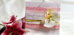 Creme and Sugar Pink Orchid Invitation