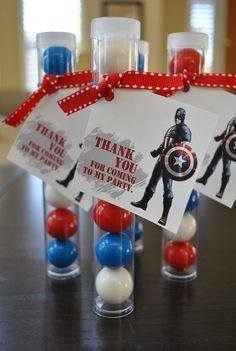 party favors, birthday parti, superhero party favor, superhero birthday favors, captain america birthday ideas
