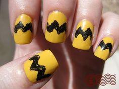 charlie brown nails- doing this! makeup, brown nail, charli brown, yellowish nail, fun, nails, hair, nail art, charlie brown