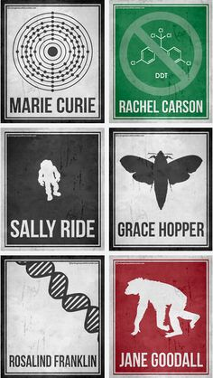 Minimalist Posters Celebrating Six Pioneering Women in Science... If I was a science teacher you know this would be hanging up in my room