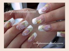 Pinned by www.SimpleNailArtTips.com ONE STROKE NAIL ART DESIGN IDEAS - Soft pastel flowers on french manicure