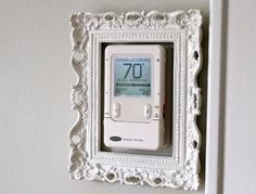 Turn your thermostat into art.  Frame it. ugli thermostat, craft, art frames, idea, rain chains, dresses, dress up, hous, picture frames