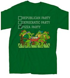 Teenage Mutant Ninja Turtles The Pizza Party Adult Green T-Shirt $18.95