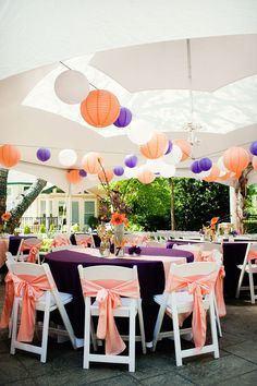 paper lanterns and ribbon bow chairs.  I LOVE these colors.    Photography by www.adavisphotos.com