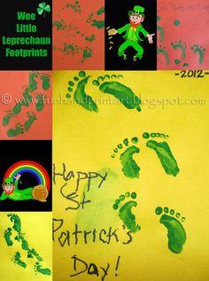 Handprint and Footprint Art : Footprint Leprechaun & Little Leprechaun Footprints!