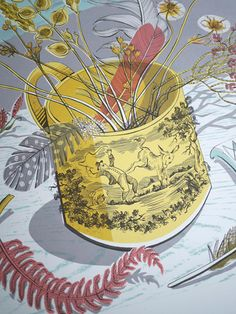 Angie Lewin's The Yellow Cup screen print (detail)