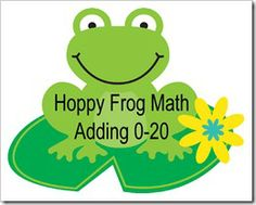 Hoppy Frog Math - adding 0-20 - free printable - preschool uses (use for file folder game!) but can also use for older kids too!