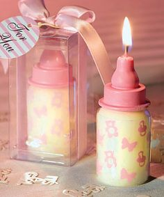 Pink Baby Bottle Candle Favors