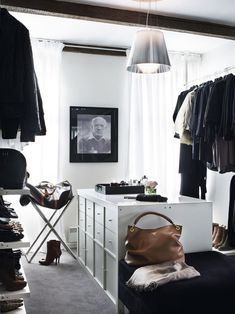 black and white his and hers closet