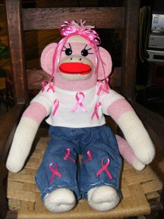 Breast Cancer awareness sock monkey