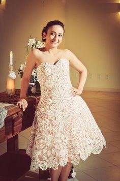 White Crochet Wedding Dress Belíssimo vestido de noiva feito em crochê!