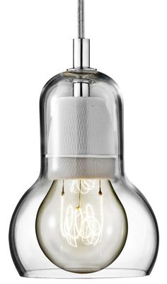 """Bulb"" SR1 pendant lamp - transparent glass, 2000, 6.5"" h x 4.3"" diameter"