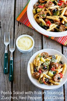 Pasta Salad Recipe with Italian Sausage, Zucchini, Red Pepper, and Olives; I make this over and over for family parties!  [from Kalyn's Kitchen] #LowGlycemicRecipe  #SaladRecipe