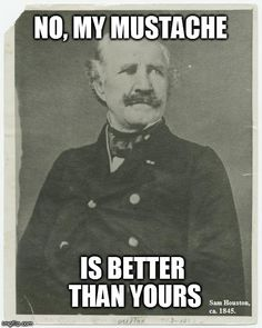 In response the American Art Museum's pin (http://pinterest.com/pin/474144666989540182/). Sam Houston had a fine mustache.