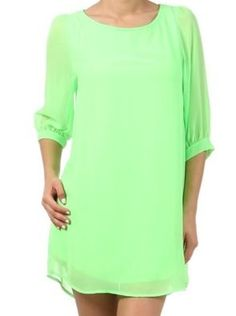 Neon Green 3/4 Sleeve Dress - $38.00 : FashionCupcake, Designer Clothing, Accessories, and Gifts