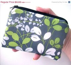 Summer 40% Off SALE Little Zipper Pouch Padded ECO Friendly Graphite Gray by JPATPURSES, $3.60
