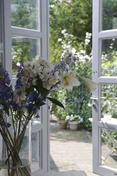 French doors, fresh air & flowers