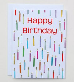 Happy Birthday Candles Card by Happy Cactus Designs