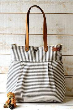 WATER PROOF Best Seller Messenger bag / Beach tote STOCKHOLM Gray and ecru nautical stripe bag purse - 10 Pockets. $98.00, via Etsy.