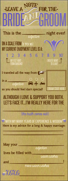 Bride and Groom Note - what a cute idea! Perfect for a rustic country wedding - lilac, brown and beige colors :)
