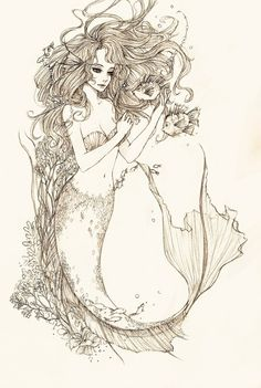 Perfect mermaid tattoo. Been thinking about getting one for Lily since shes an Aquarius and loves the ocean