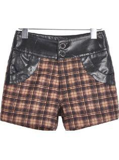 Khaki Mid Waist Contrast Leather Plaid Shorts