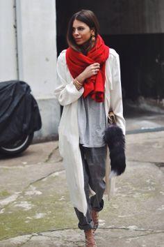 red scarf, jackets, street styles, majawyh, grey, scarves, maja wyh, wear, fashion inspir