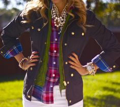 jacket, fashion, style, color, outfit, pearl necklaces, layer, southern charm, plaid shirts